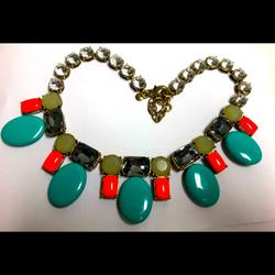 J. Crew Jewelry   Chunky J Crew Turquoise Red & More Glitzy Necklace   Color: Red   Size: 18 Inches