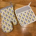 Anthropologie Kitchen | Anthro Nautical Oven Mitt And Pot Holder Set | Color: Blue/Yellow | Size: Os
