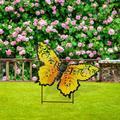 Arlmont & Co. 18.5 Inch Metal Butterfly Garden Stake in Yellow, Size 14.5 H x 18.5 W x 1.0 D in | Wayfair B85E785FC0FE44869D70E7EC668B2988