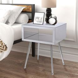 Everly Quinn Mirror End Table Mirror Nightstand End&side Table (purple Color)Wood/Mirrored in Gray, Size 17.9 W x 15.1 D in   Wayfair
