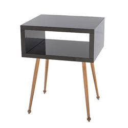 Everly Quinn Cavalli End Table w/ Storage Wood/Mirrored in Black/Yellow, Size 17.9 W x 15.1 D in | Wayfair 8C7A11463BAA4E31AB69585D3A4E7283
