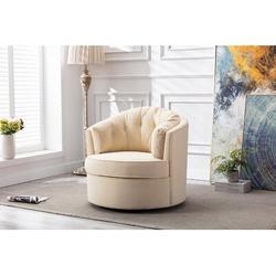 Everly Quinn Accent Swivel Chair, Velvet Barrel Reading Chair, Modern Comfy Round Bucket Arm Chair, Leisure Vanity Makeup Chair w/ Golden Base