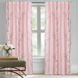 Red Barrel Studio® Imaya Nature Sakura Cherry Blossom Pair Of Window Curtains in Black/Pink/White, Size 84.0 H in | Wayfair