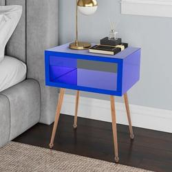 Everly Quinn Cavalli End Table w/ StorageWood/Mirrored in Blue/Yellow, Size 17.9 W x 15.1 D in | Wayfair 7E87EF6F56CB4FAEB36E2D03BF035644