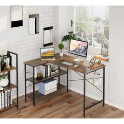 17 Stories Small L Shaped Computer Desk, 47 Inch L-Shaped Corner Desk w/ Reversible Storage Shelves For Small Space Home Office in Brown | Wayfair
