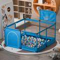 Blue Carve Baby Playpen Playinghouse Newborn Baby Fence Interactive Toddler Room w/ Safety GateMetal, Size 25.6 H x 49.6 W x 49.6 D in   Wayfair