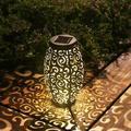 "Meucoo Solar Light Outdoor Hanging Solar Lantern, Nickel in Bronze/Brown/Polished Nickel, Size 9""H X 5""W X 5""D | Wayfair pzhang-7Y9-Bronze1pc"