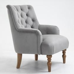 Canora Grey VelvetAccent Chair Tufted Arm Club Chair Single Sofa w/ Wooden Legs Comfy UpholsteredVelvet in Gray, Size 36.0 H x 28.7 W x 33.0 D in
