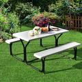 Arlmont & Co. Picnic Table Camping Picnic Bench Set Backyard Garden Patio Dining Party Black Plastic in Gray/Black, Size 28.5 H x 54.0 W x 28.0 D in