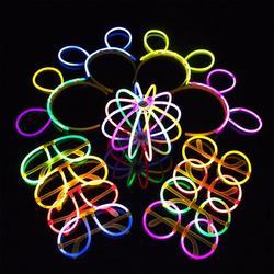 The Party Aisle™ 100 Pcs Multi-Color Fluorescent Light Sticks Glasses Headbands Glow Sticks Fluorescent Bracelets Necklaces Set For Festivals Parties