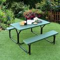 Arlmont & Co. Picnic Table Camping Picnic Bench Set Backyard Garden Patio Dining Party Black Plastic in Green/Black | Wayfair
