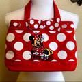 Disney Accessories | Dysney Parks Minnie Mouse Canvas Handbag | Color: Red/White | Size: Osg