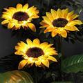 Sanhee 3 Pack Sunflower Solar Lights Outdoor Decorative, Waterproof Sunflower Lights, Yellow Light up Landscape Sunflower Lamp, 28Inch Solar Pathway Lights for Lawn Patio Yard Garden