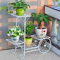 XDJ Wrought Iron Cart Multi Layer Plant Flower Shelf, Home Living Room Garden Cart Display Stand, Indoor Outdoor Office Balcony Garden Patio Storage Frame Brown White (Color : White)