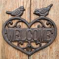 YYSN Rustic Heart-Shaped Cast Iron Welcome Signs Plaques with Two Birds on European Home Garden Wall Decor Metal Signs Plaques Hanging Ornament