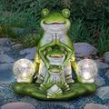 Exhart Solar Three Meditating Frogs in Lotus Position with Two LED Crackle Balls Statuary, 10 Inch