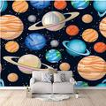 Wallpaper Mural Cartoon Color Planet Mural Peel & Stick Wall Decal Wall Art Child Gift for Kid Room Nursery Bedroom Wall Home Decor Poster Mural Wallpaper-200X140cm