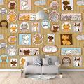 Wallpaper Mural Cartoon Animal Cat Photo Frame Mural Peel & Stick Wall Decal Wall Art Child Gift for Kid Room Nursery Bedroom Wall Home Decor Poster Mural Wallpaper-200X140cm