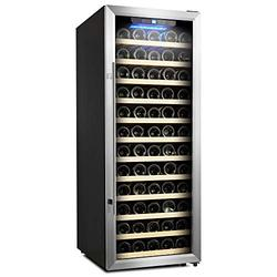 Empava 80 Bottle Compressor Cooler Refrigerator Single Zone Freestanding Wine Cellar with Interior Fan Circulation in Stainless Steel 41°F ~ 64°F