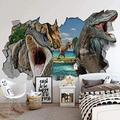 Wallpaper Mural 3D Broken Wall Dinosaur Mural Peel & Stick Wall Decal Wall Art Child Gift for Kid Room Nursery Bedroom Wall Home Decor Poster Mural Wallpaper-200X140cm