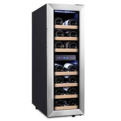 Empava 18 Bottle Dual Zone Freestanding Cellar Compressor Wine Cooler Refrigerator with Interior Fan Circulation in Stainless Steel 41°F ~ 64°F