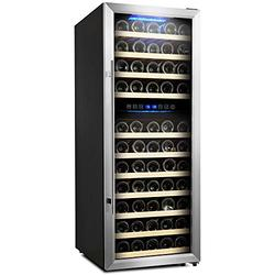 Empava 73 Bottle Dual Zone Freestanding Cellar Compressor Wine Cooler Refrigerator with Interior Fan Circulation in Stainless Steel 41°F ~ 64°F