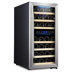Empava 33 Bottle Dual Zone Freestanding Cellar Compressor Wine Cooler Refrigerator with Interior Fan Circulation in Stainless Steel 41°F ~ 64°F