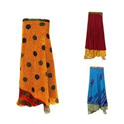 Lot of 3 Pc Silk Wrap Skirt Silk Skirts Reversible Skirt Silk Sari Skirt Maxi Wrap Skirt Magic Wrap Skirt Womens's Skirt Long Skirt