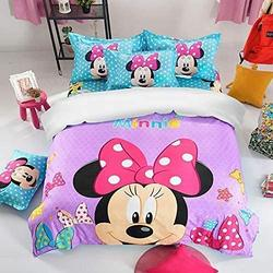 """3Pcs Kids Mickey Minnie Mouse Bedding Duvet Cover Sets for Boys Girls 3D Cartoon King Size Bed Set, Super Soft Microfiber Comforter Cover Minnie Mouse Bedding Set with 2 Pillow Cases (King(102""""x90""""))"""