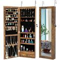 LAMF Jewelry Armoire Cabinet, Wall/Door Mounted Jewelry Armoire-Full Mirror Jewelry Cabinet Lockable Makeup Storage Organizer with 6 Auto-on LEDs and 2 Bottom Drawers, 43.4H