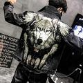 HNHM Wolf Embroidered Rivet Jean Jacket Men Denim Jackets Streetwear Slim Black Jacket for Men-Black Y1792_L