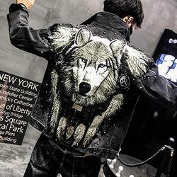 HNHM Wolf Embroidered Rivet Jean Jacket Men Denim Jackets Streetwear Slim Black Jacket for Men-Black Y1792_L