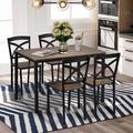 Laurel Foundry Modern Farmhouse® Rafaela 5-Piece Industrial Wooden Dining Set w/ Metal Frame & 4 Ergonomic Chairs in Brown | Wayfair