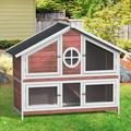 """Tucker Murphy™ Pet Tucker Murphy™ Pet Rabbit Hutch Wood House Chicks Coop Pet Cage For Small Animals, Gray in Red, Size 43.3"""" L x 18.3"""" W x 56.6"""" H"""