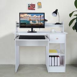 Ebern Designs Home Office Computer Writing Desk w/ Drawers Home Small Desk Dormitory Study Desk Wood/Metal in Brown/White   Wayfair