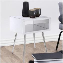 Everly Quinn Mirror End Table Mirror Nightstand End,Side Table (Light Blue) Table Top Color: Silver, Table Base in Steel/Silver | Wayfair