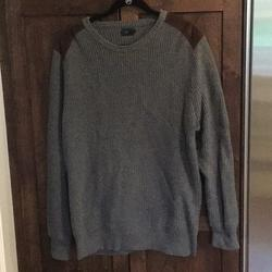 J. Crew Sweaters | Nwot Jcrew Knit With Suede Detail Men Grey Sweater | Color: Gray | Size: L