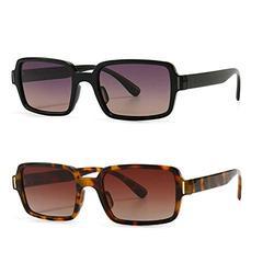 2Pack leopard leopard frame sunglasses women square black orange retro sun glasses for women uv400 hot-selling female 2021 frame sunglasses women square black orange retro sun glasses for women uv400 hot-selling female 2021 (2Pack-leopard&black purple)