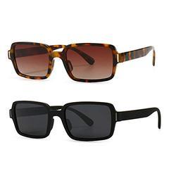 2Pack leopard leopard frame sunglasses women square black orange retro sun glasses for women uv400 hot-selling female 2021 frame sunglasses women square black orange retro sun glasses for women uv400 hot-selling female 2021 (2Pack-black&leopard)