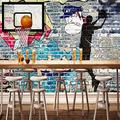 RTYUIHN Mural Wallpaper Abstract Graffiti Art Brick Wall Basketball Basketball Wall Painting Background Decoration Picture Wall Living Room