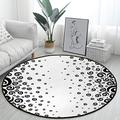 Black and White Office Swivel Chair Mat Black and White Round Floor Mats for Computer Desk Gaming Chair Diameter 4 ft