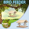 Bird Feeder, Wild Bird feeders, Wild Bird Feeders for Outside and Garden Decoration Yard for Bird Watchers, Wooden Bird House Bird Feeder Wooden Birdhouse Garden Bird House Garden Gifts(Multicolor)