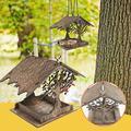 Qikafan Bird Feeder, Wild Bird feeders, Wild Bird Feeders for Outside and Garden Decoration Yard for Bird Watchers, Wooden Bird House Bird Feeder Wooden Birdhouse Garden Bird House Garden Gifts