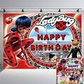Ladybug Backdrop Girl Birthday Party Supplies Banner Decorations Photography Background Kids 7x5Ft