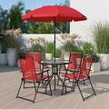 Flash Furniture Nantucket 6 Piece Red Patio Garden Set with Table, Umbrella and 4 Folding Chairs