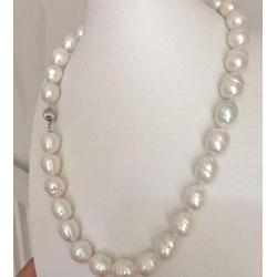 Necklaces Pendants, Classic 13-14Mm Natural South Sea Freshwater Baroque White Pearl Necklace 20''