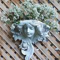 French Greenmen Mystic Maiden Wall Sculptures Planter Flowers Pockets Garden Statue,Angel Vase Hanging Sculpture Resin Arts Handcrafted Crafts Statues Decor for Front Door Gifts for Mother's Day