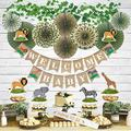 YARA Jungle Theme Safari Baby Shower Decorations For Boy Or Girl|Gender Neutral Lion King Tropical Party Decor & Supplies| Wild Animal Themed Kit| Welcome Baby Burlap Garland| Animal Centerpieces|Sash