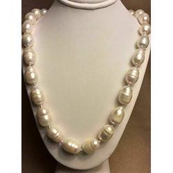 Necklaces Pendants, 12-14Mm Natural South Sea Freshwater Baroque White Pearl Necklace 24''