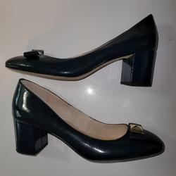 Kate Spade Shoes | Kate Spade Navy Blue Patent Gold Bow Block Heels | Color: Blue | Size: 10